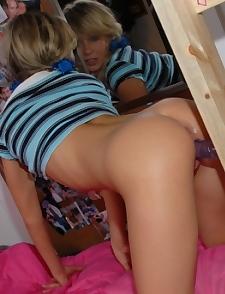 Blue and white schoolgirl
